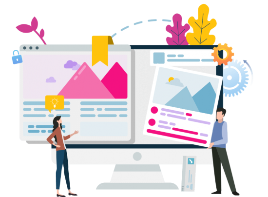 Web Design Graphic. People consulting about the website design